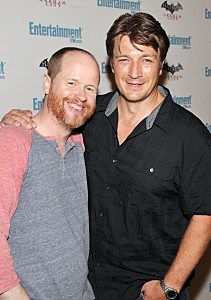 Actors Joss Whedon and Nathan Fillion