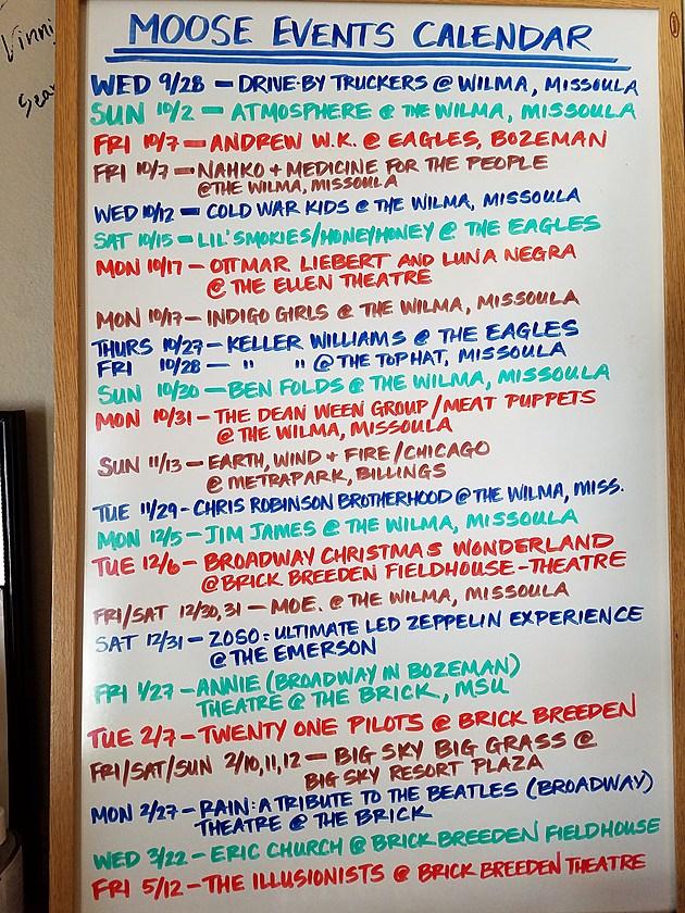 Moose Events Calendar Q4