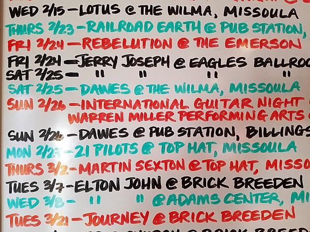 Concert List for Feb
